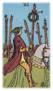 A man crowned with a laurel branch  holding a wreath topped staff rides horseback alongside a crowd with staves raised