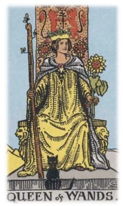 A queen is seated on a throne, staff in one hand and a sunflower in the other. A black cat is seated at her feet