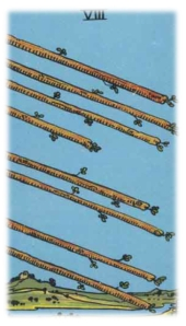 Eight staves in flight approach their descent, nearing impact